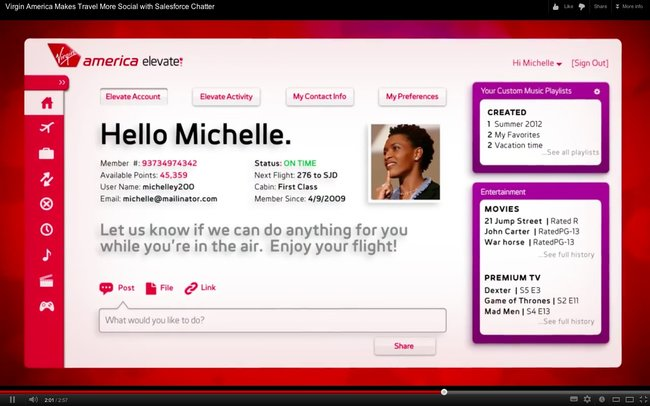 Virgin America to introduce new intelligent social personalised in-flight entertainment system - photo 3