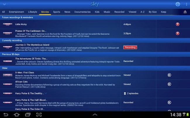 Sky+ for Android adds Planner Manager and Remote Control features - photo 7