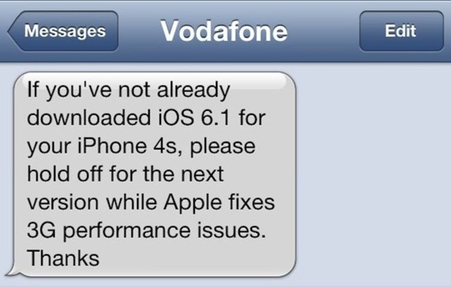 Vodafone UK warns iPhone 4S users to stay away from iOS 6.1 - photo 2