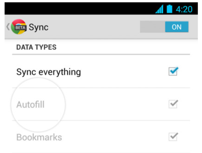 Upcoming Google Chrome for Android release to feature autofill text and saved passwords - photo 1