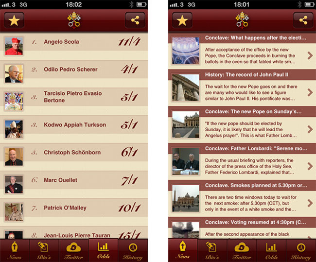 APP OF THE DAY: Pope Election 2013 review (iPhone) - photo 1