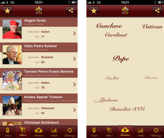 APP OF THE DAY: Pope Election 2013 review (iPhone) - photo 2