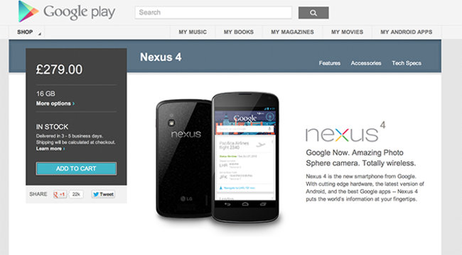 Google Nexus 4 goes back in stock in the UK, following limited availability - photo 2