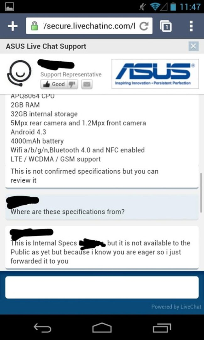 Asus chat support reveals new Nexus 7 2 specs - photo 5