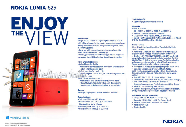 Nokia Lumia 625 press shot, spec sheet leaked ahead of Tuesday's Nokia event - photo 2