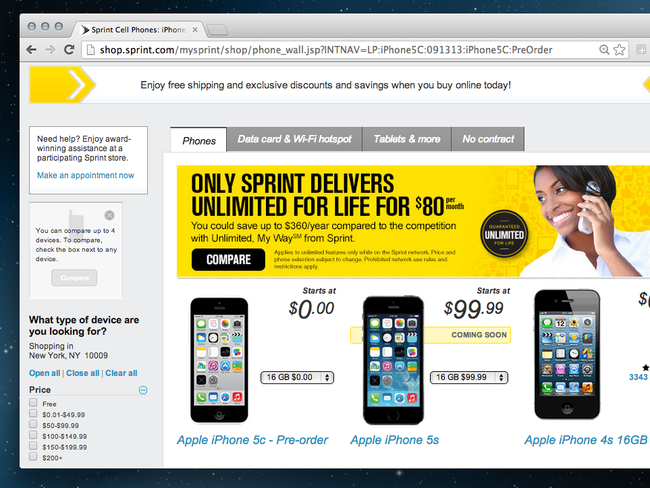 Want a free iPhone 5C? Sprint flaunts $100 discount on new iPhones - photo 1