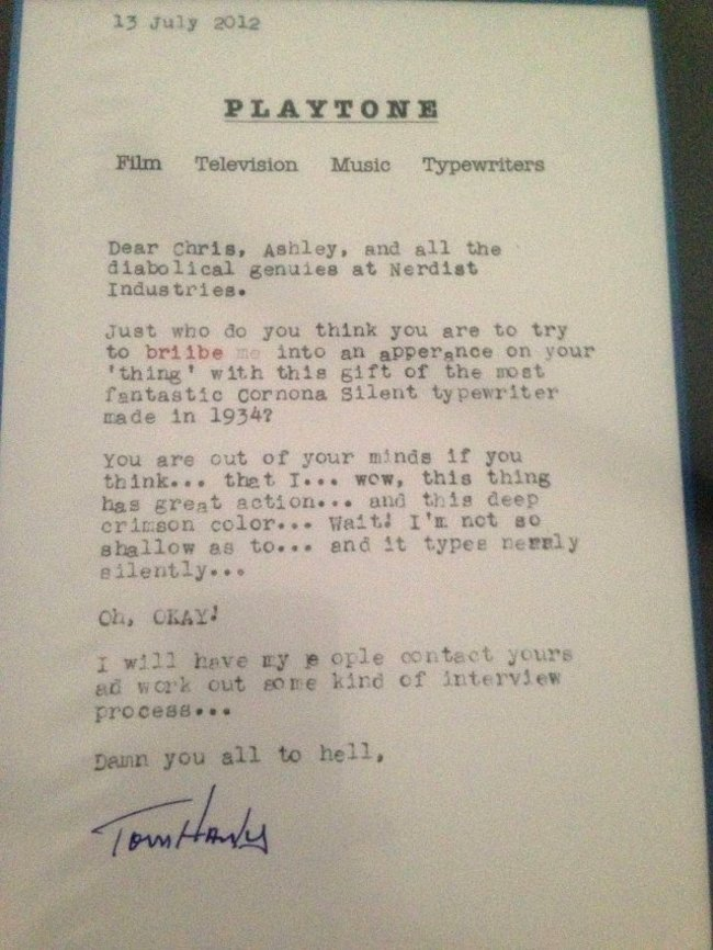 Typewriter collector and actor Tom Hanks releases typewriter app for iPad (Update) - photo 2
