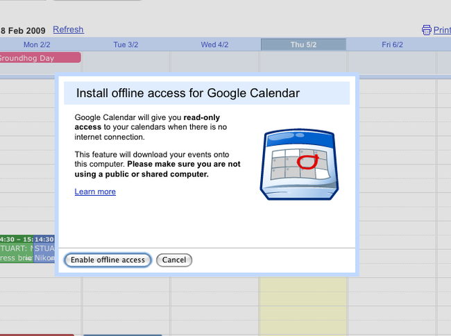 Googles Calendar goes offline - photo 2