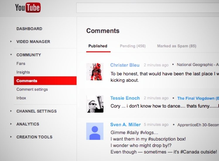 YouTube Comments inbox tool