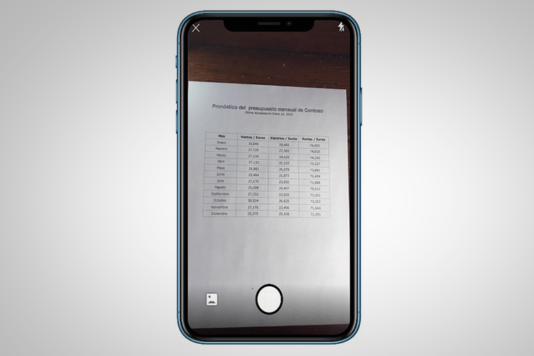 How to use the Excel app to photograph and import printed spreadsheets