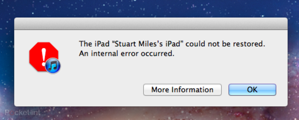 Internal error message from Apple