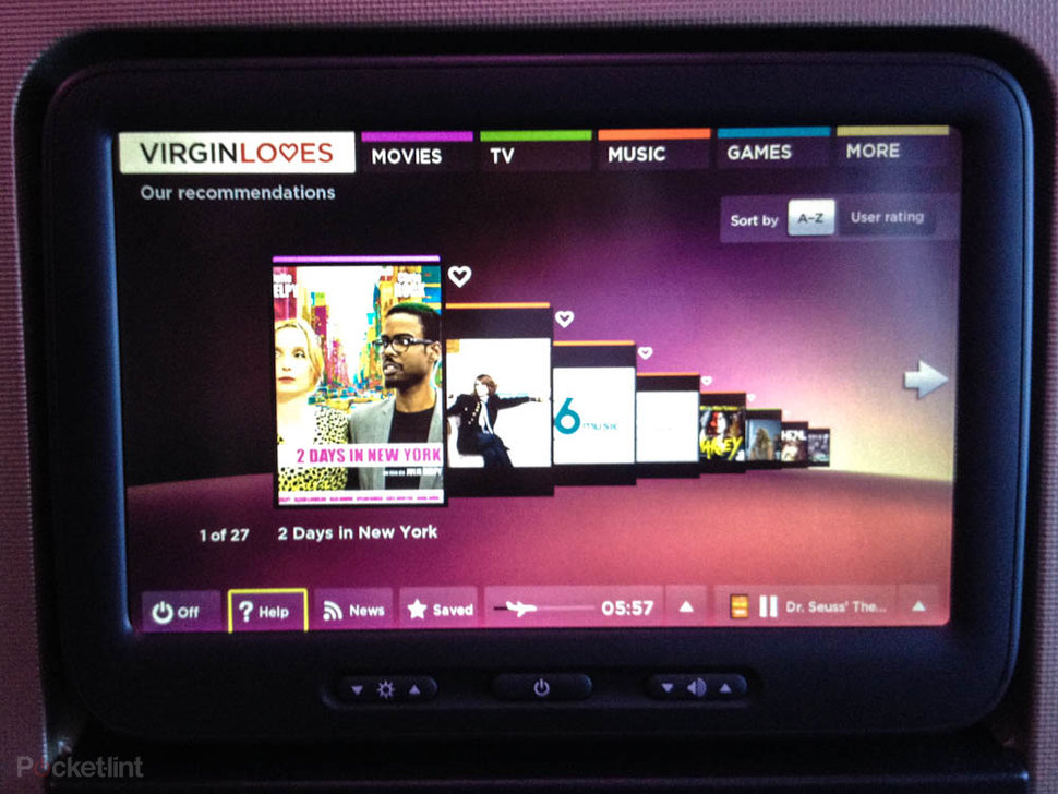 Virgin Atlantic's new in-flight entertainment system pictures a