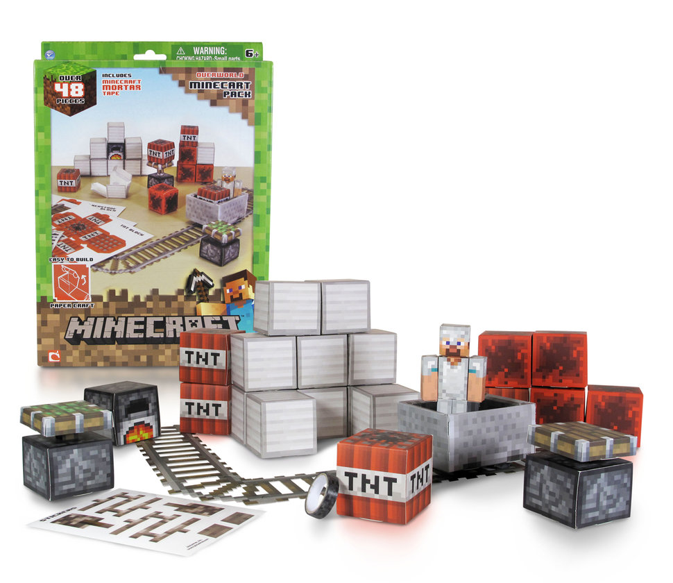 minecraft toy collection pictured action figures plush toys and paper craft projects on the way image 1