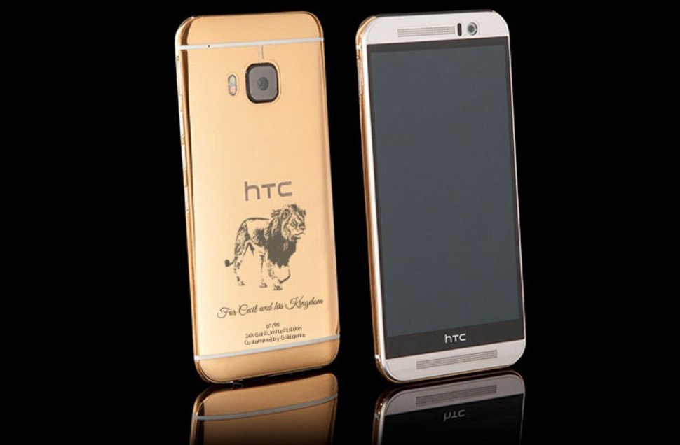 goldgenie s 24ct gold htc one m9 now comes with a cecil the lion engraving for charity image 1