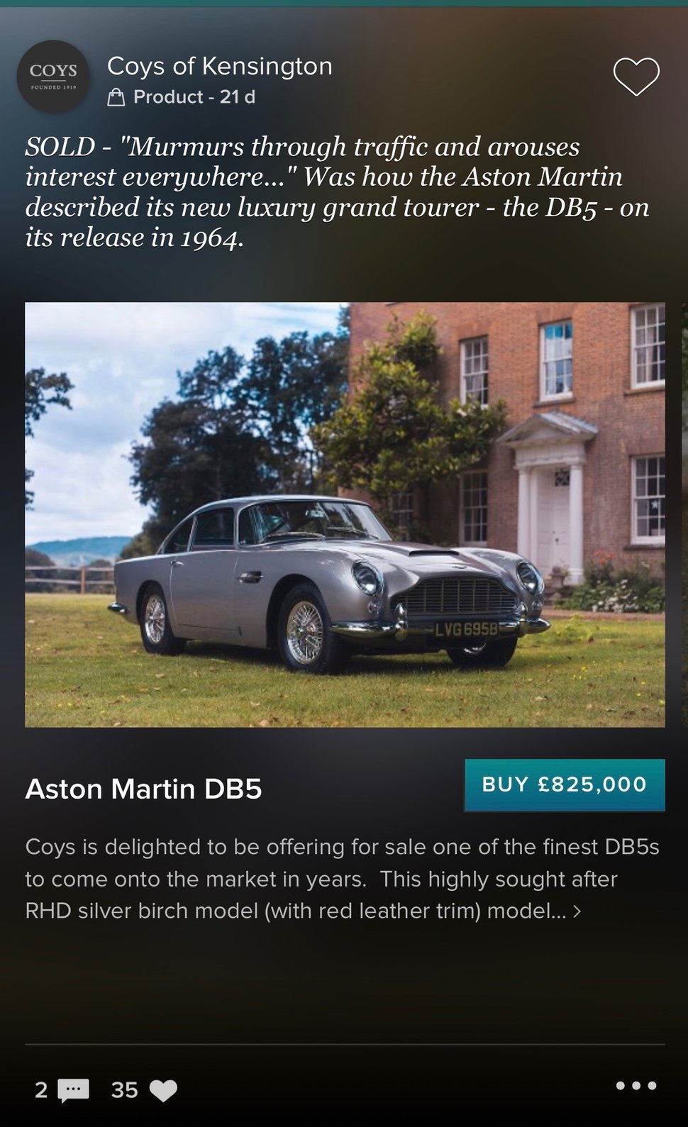 Apple Pay Was Used To Buy An 825 000 Aston Martin Db5 Pocket